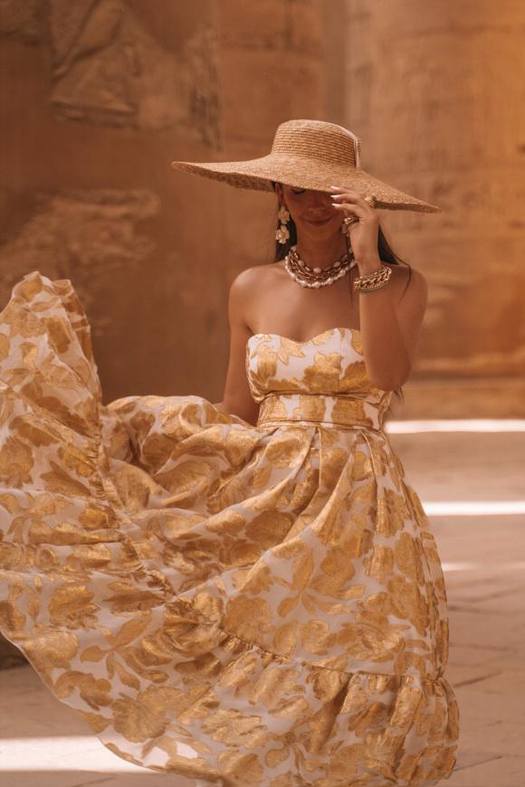 Strapless viscose dress