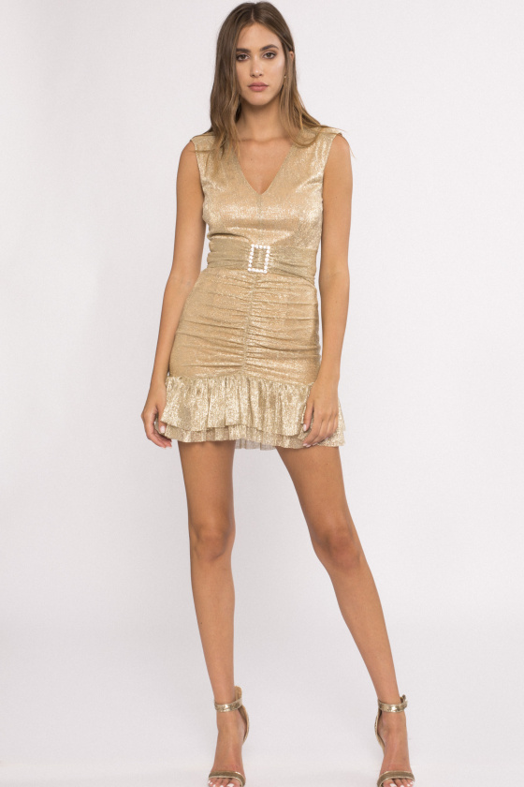 Metallic effect mini dress