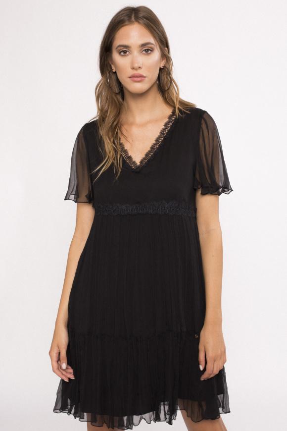 V-neck silk dress