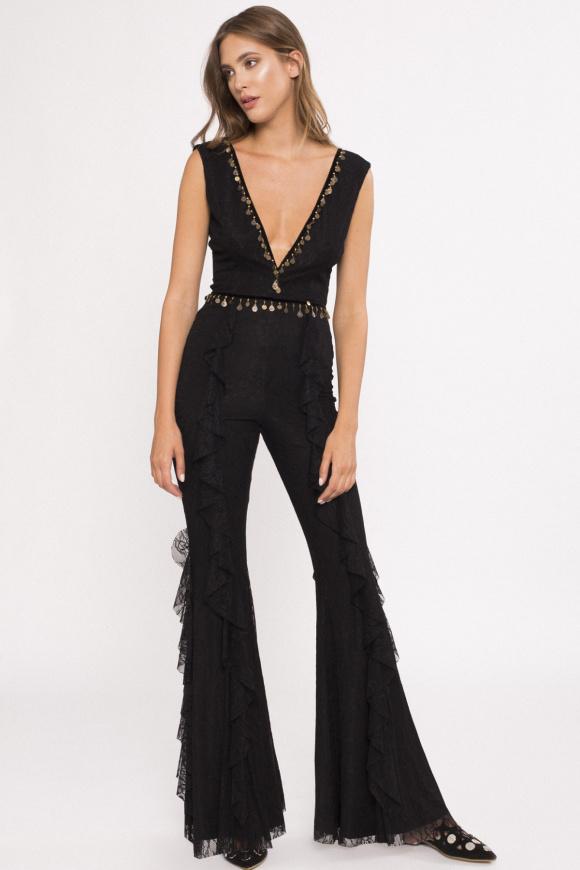 Flared lace jumpsuit