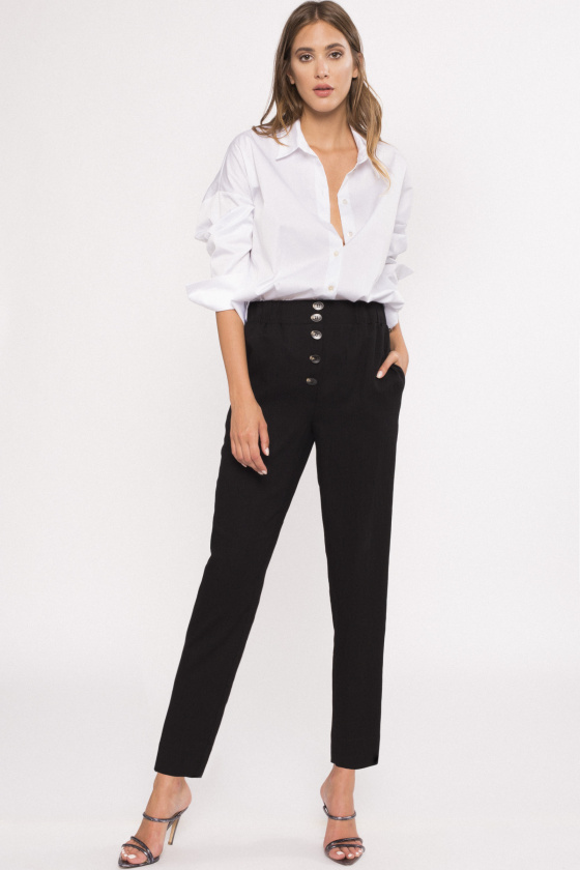High-waisted viscose pants