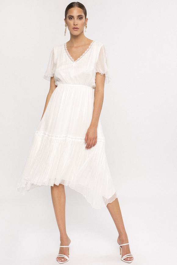 V-neck silk midi dress