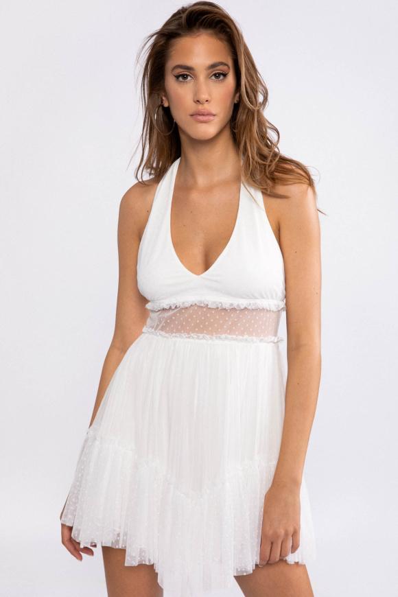 Plumeti detail silk dress