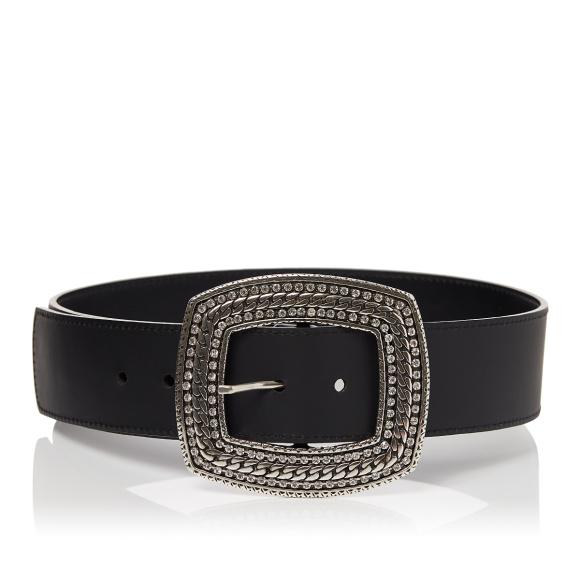 Crystal-embellished buckle leather belt