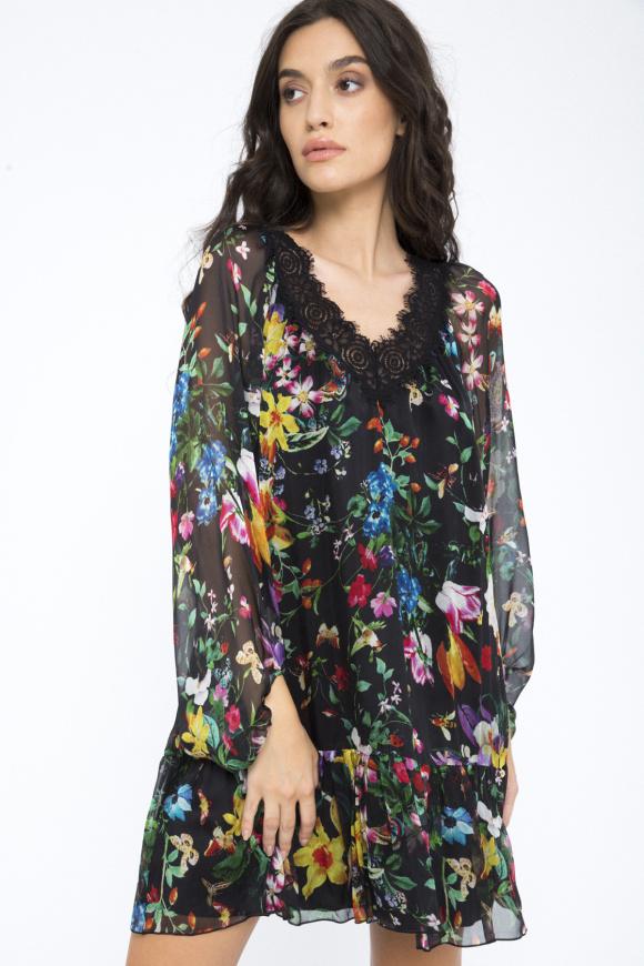 Lace detail silk dress