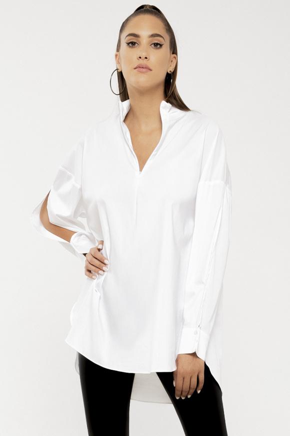 Split-sleeve cotton shirt