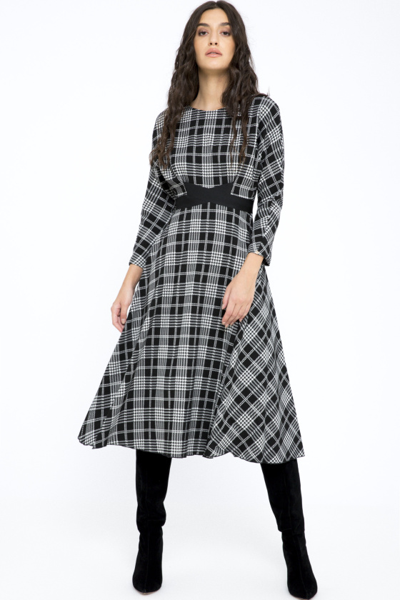 Check-print midi dress