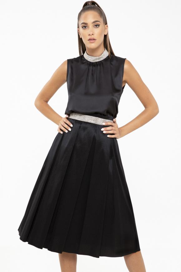 Crystal-embelished taffeta skirt