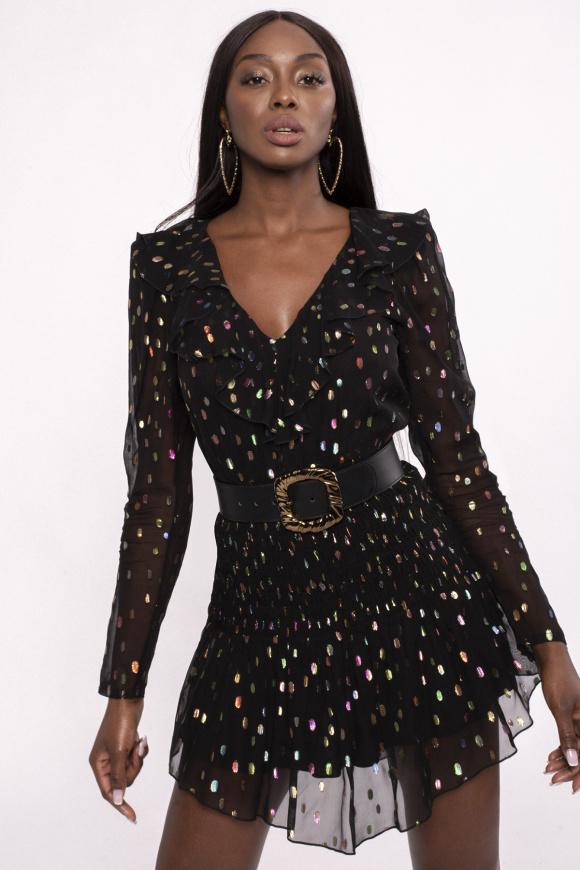 Embellished viscose mini dress