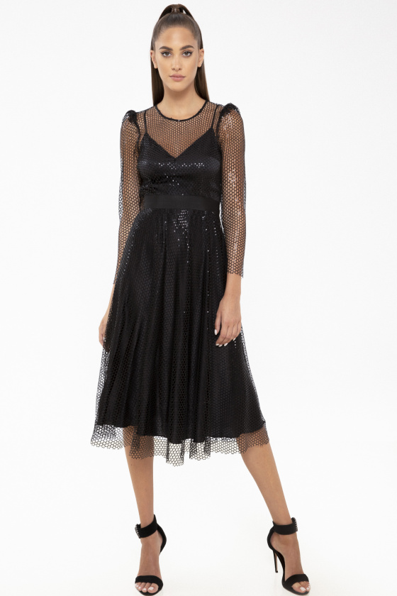 Shiny mesh midi dress