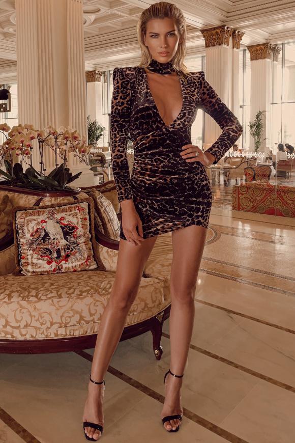 Leopard-print velvet dress