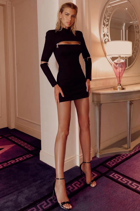 Zip-detailed viscose dress