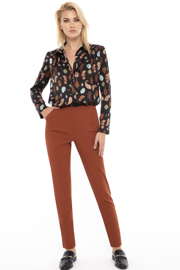 High waisted cotton pants