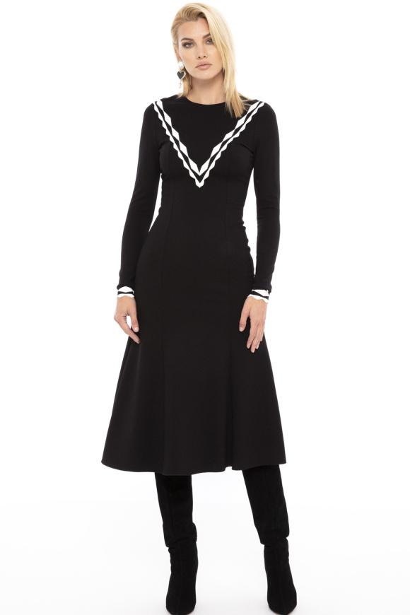 Contrasting-panel midi dress