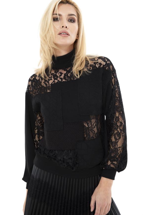 Lace insert sweater
