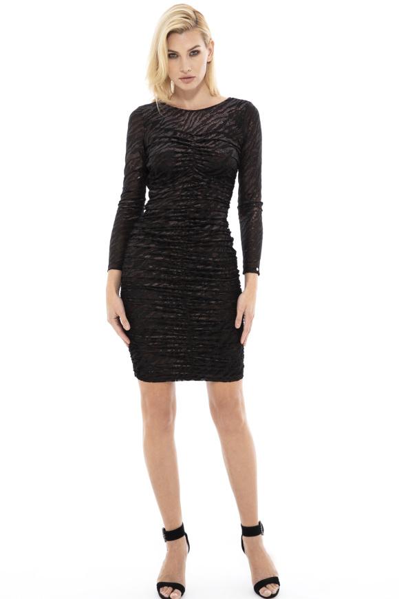 Zebra-print velvet dress