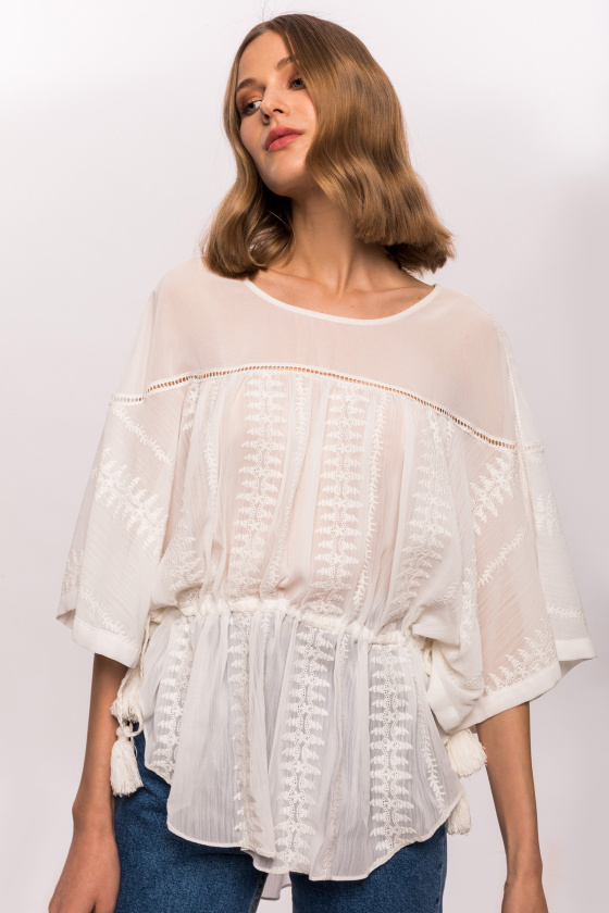 Embroidered tassels top