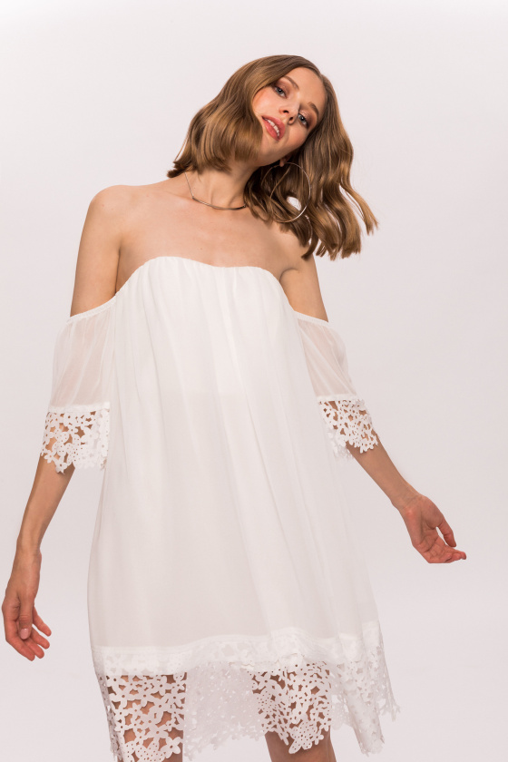 Embroidered off-the-shoulders dress