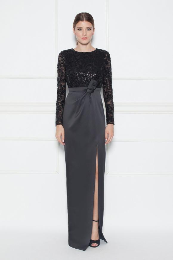 Cekinowa koronkowa długa sukienka z rozcięciem