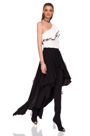 Spodnie z asymetryczną warstwą spódnicy