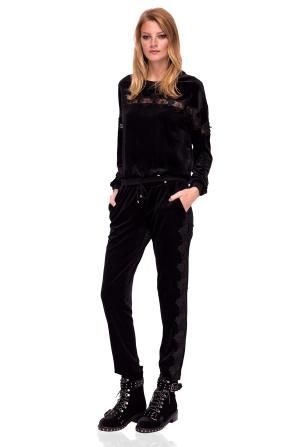 Aksamitne spodnie na co dzień z koronkowym detalem