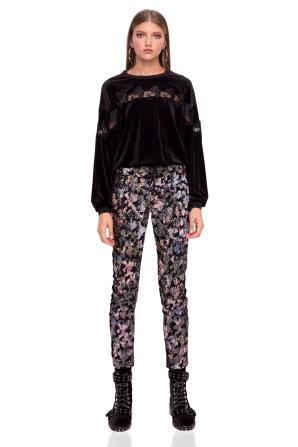Eleganckie spodnie z aksamitu z cekinami