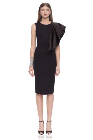 Sukienka midi z marszczonym detalem na rękawie