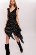 Asymetryczna sukienka w kropki z wiskozy