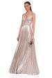 Silver pleated dress with deep cut neckline