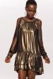 Sukienka z metalowymi detalami i wyciętymi rękawami