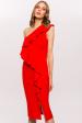 Asymmetrical  ruffle one shoulder dress