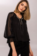Blouse with fringes and pearls