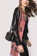 Mixed pattern fringed jacket