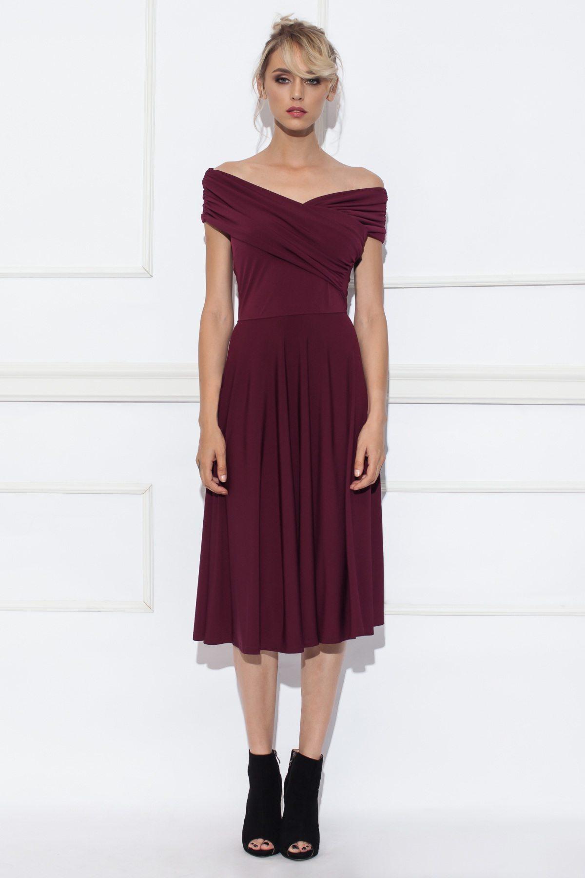 9c66a91deb1da7 Rozkloszowana sukienka z opadającymi ramionami | RS8902 | NISSA