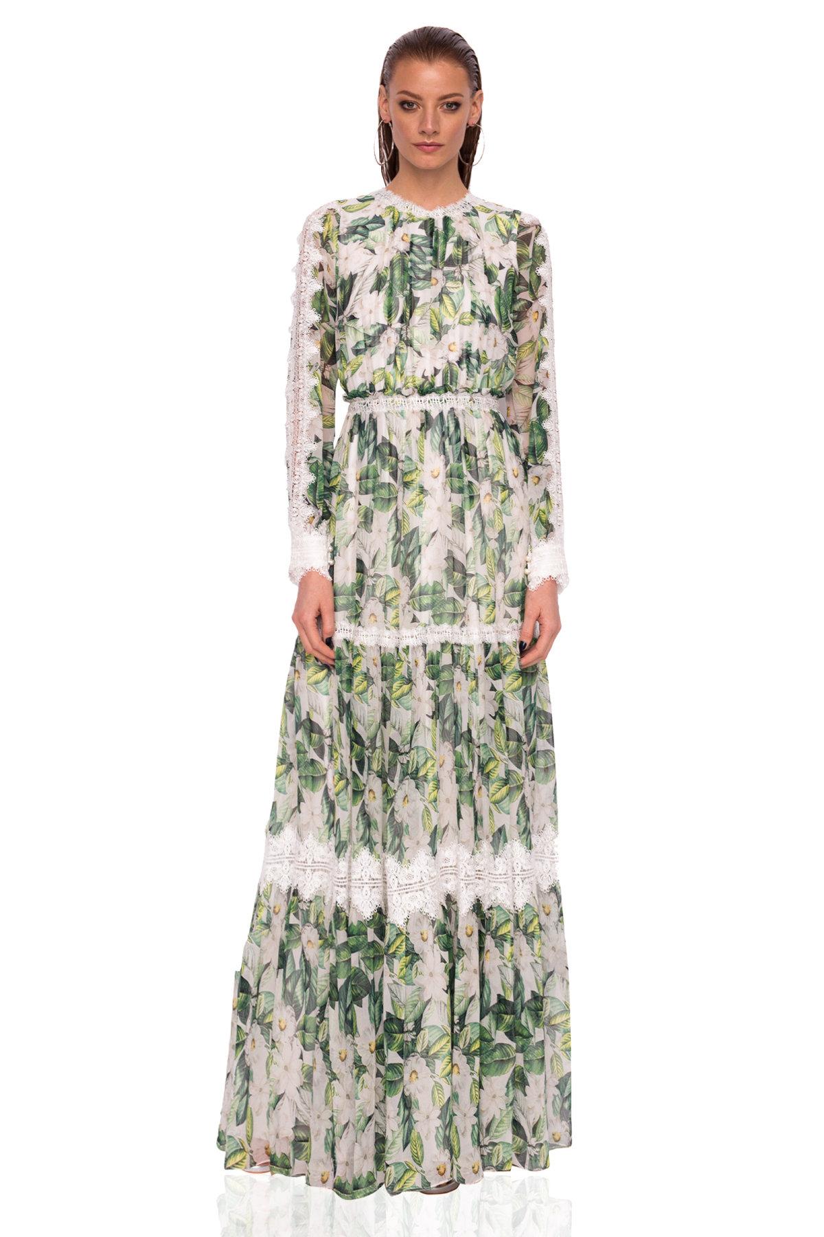 5026023a948c Jedwabna sukienka maxi z koronkowym detalem