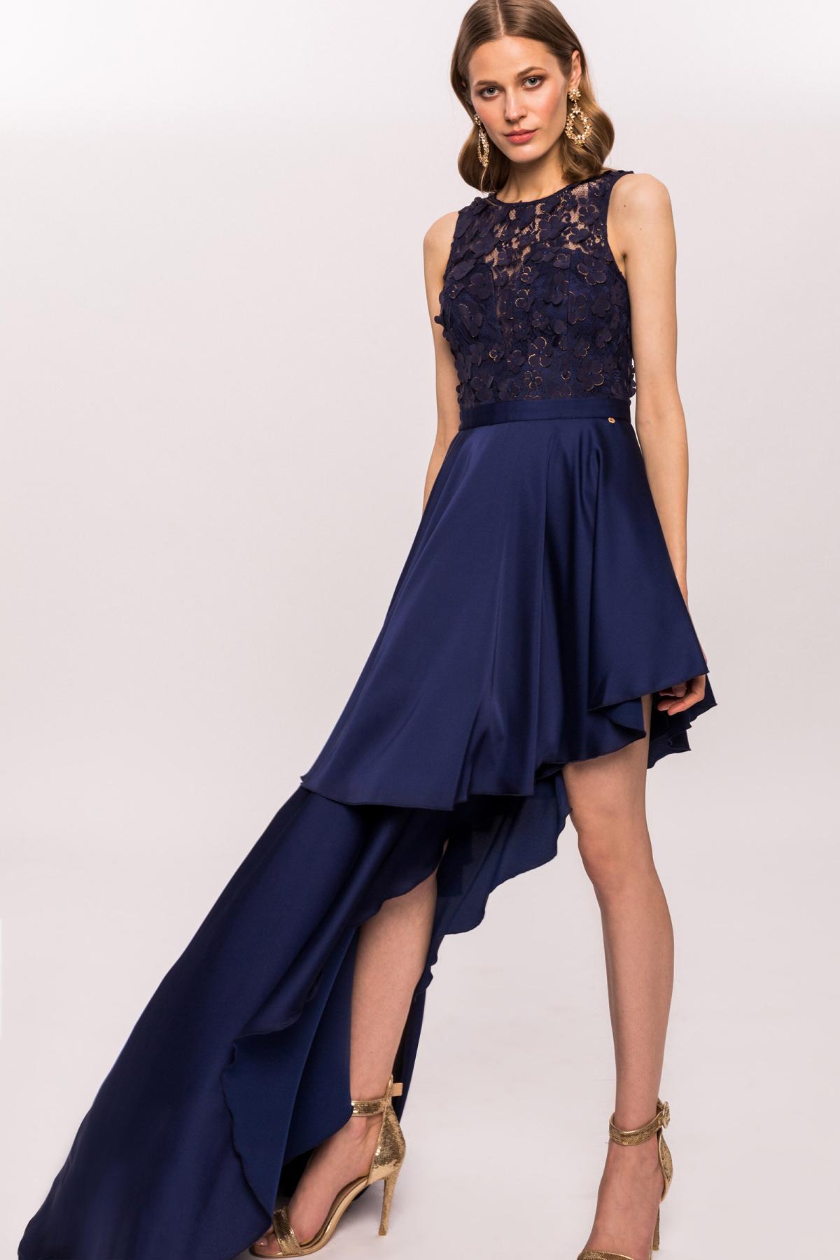 3d Floral Lase Asymmetrical Dress Rs9701 Nissa