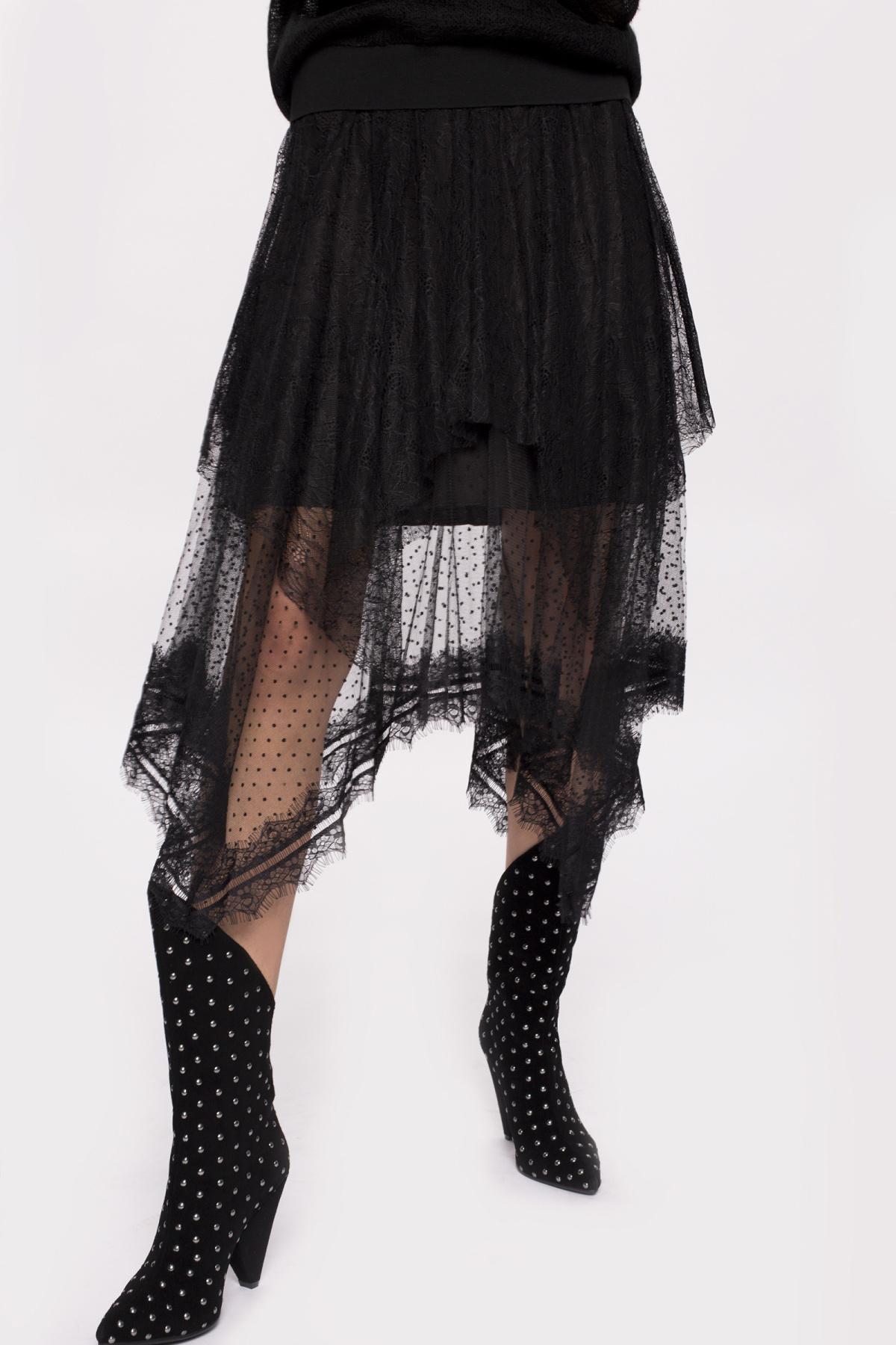 Asymetryczna spódnica z koronką | F10919 | NISSA