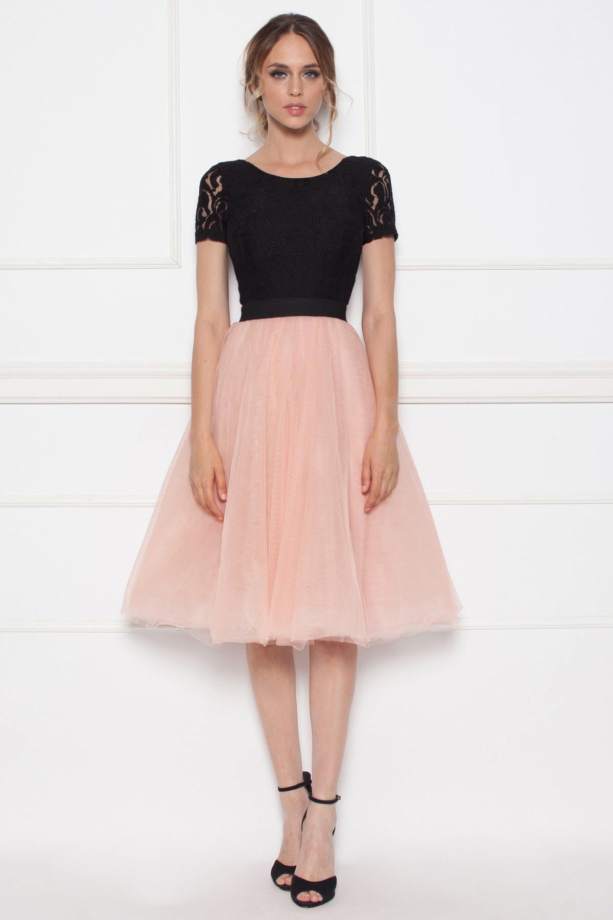 a49976e63206a8 Sukienka do kolan z tiulową spódnicą | RS8510 | NISSA